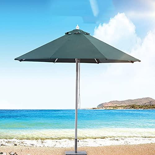 ACXZ Sombrilla de Aluminio para Patio de 250 cm para Exteriores, Parasol de Mercado de jardín, Sistema de elevación de Cuerda, Verde Oscuro, sin la Base