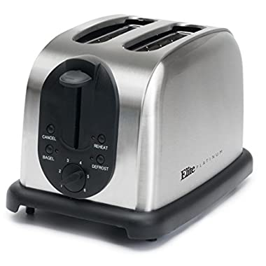 Elite Platinum ECT-200X Maxi-Matic 2-Slice Toaster, Brushed Stainless Steel