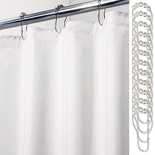 mDesign Cortinas de baño de poliéster – Cortina de baño Extra Larga con 12 Aros para Colgar incluidos – Cortinas de Ducha y para bañera Impermeables – 100% poliéster – Blanco