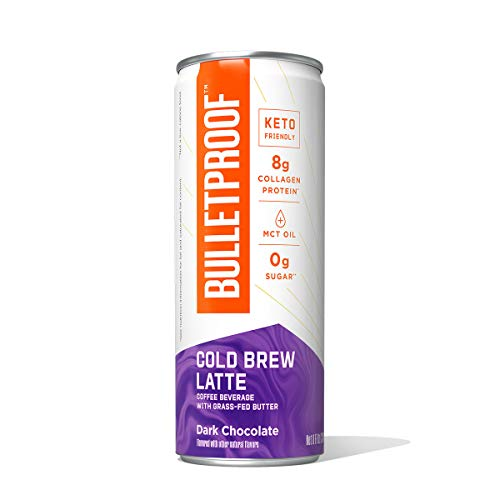 Bulletproof Dark Chocolate Cold Brew Coffee Plus Collagen Protein, Keto Friendly with Brain Octane C8 MCT Oil and Grass Fed Butter, Sugar Free, Dark Chocolate, 12 Pack