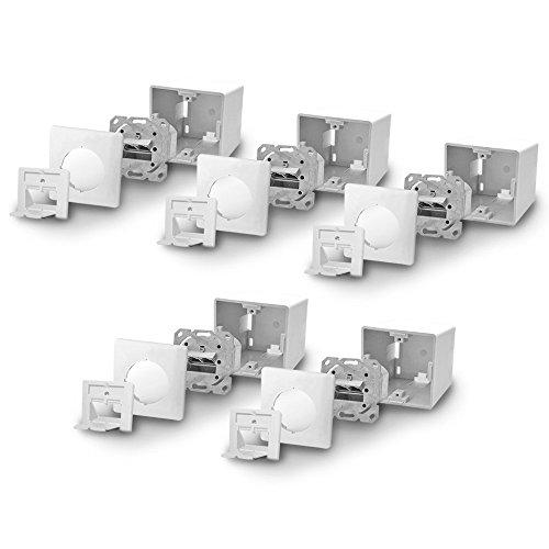 Cat6a Netzwerkdose Netzwerk Dose 10x Cat 6 a 2x RJ45 Port voll geschirmt Metalldurchgussgehäuse Aufputz Unterputz Cat7 Kabel ARLI
