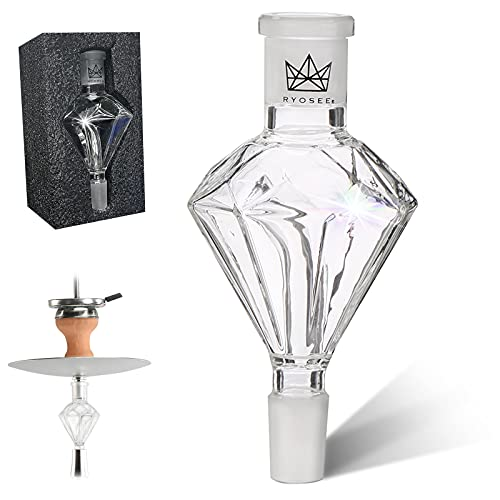 Ryosee Shisha Molassefänger Diamant, aus Verdicktes Glas, Schliff Universal Shisha Zubehör, Vorkühler-Aufsatz für meiste Hookah, Perfekter Durchzug und leicht reinigt zu Werden