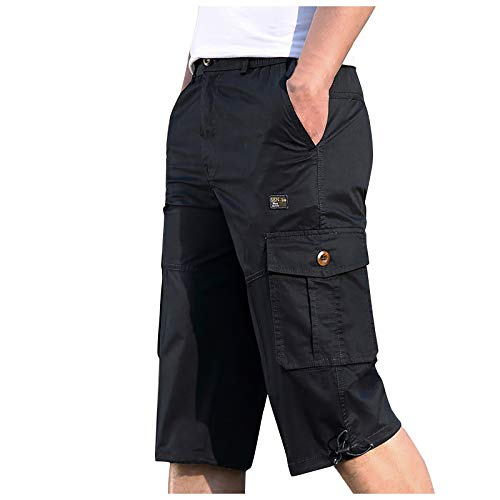 Tootom Mens Summer Casual Multi-Pocket and Elastic Waistband Cargo Shorts Knee Length Loose Fit Fitness