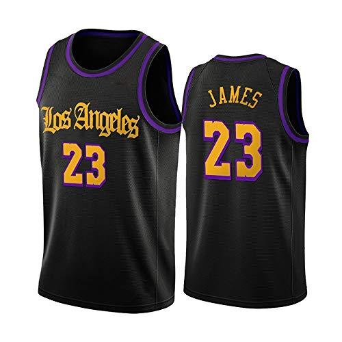 Jerseys De Baloncesto para Hombres, NBA Los Ángeles Lakers # 23 Lebron James - Classic Comfort Transpirable Quick-Secking Sin Mangas Vestidos Tops Camiseta Uniformes,Negro,M(170~175CM)