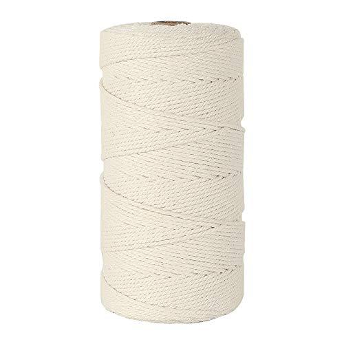 HUTHIM Macrame Cuerda 2mm x 220m, 100% Algodó Cordel Hilo Natural, para Macramé Colgador de Plantas DIY Artesanía Decoración Bohemia, Beige