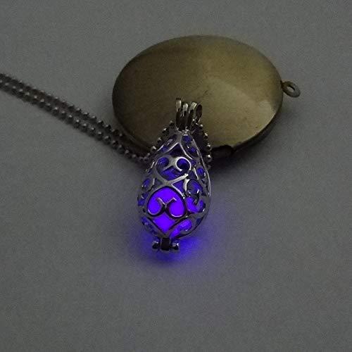 WQZYY&ASDCD Collar De Mujer Collar con Colgante De Piedra Luminosa para Mujer Plateado con Forma De Luna-Oval_Purple_