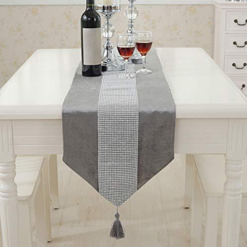 GeKLok Camino de mesa con diamantes de imitación de 33 x 70...