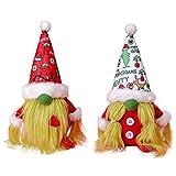 Navidad enana Mini Peluche Hecho a Mano Santa Claus muñecas, muñeco de Nieve Muñeca de Navidad Juguetes Regalos de cumpleaños, Santa Claus Muñecas de Felpa Decoraciones (2 Piezas, Blanco + Rojo)