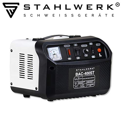 STAHLWERK KFZ Batterieladegerät BAC-400 ST, 12/24V Modus, bis zu 400 Ah Batteriekapazität, bis zu 50A Ladestrom, Booster, 7 Jahre Garantie