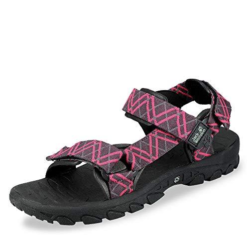 Jack Wolfskin 4016982 2081 Wildwaters Damen Sandale aus Synthetik mit Neopren, Groesse 38, pink/schwarz