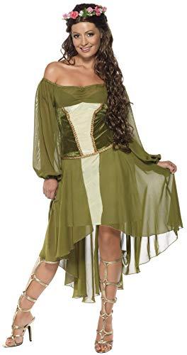 Holde Maid Kostüm Grün mit Kleid und Haarblumenkranz, Small