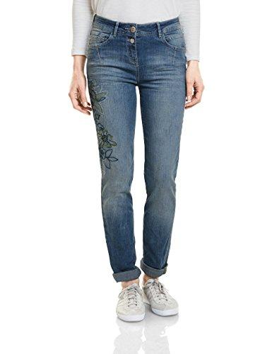 CECIL Damen Straight Jeans 371264 Toronto, Blau (Mid Blue Used Wash 10240), W34/L32