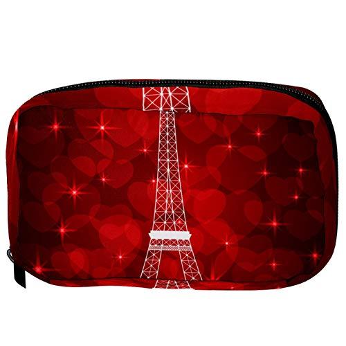 Neceser de Maquillaje Estuche Escolar para Cosméticos Bolsa de Aseo Grande Torre Eiffel Corazón Rojo