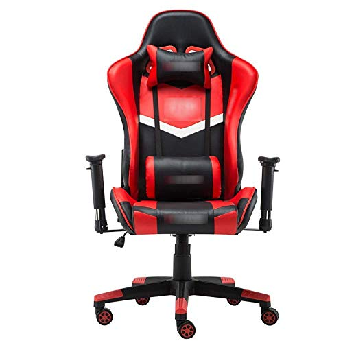 N/Z Daily Equipment High Back Office Computer Desk and Chair Gaming Office Chair Ergonomic Swivel Chair Racing Gaming Pu Leather Adjustable Recliner Red 70 * 70 * 127CM
