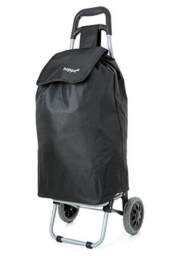 Hoppa 47L Stabiler Einkaufstrolley klappbar Shoppingtrolley multifunktional Einkaufsroller abnehmbare Tasche Rollen Einkaufswagen Wagen (Schwarz)