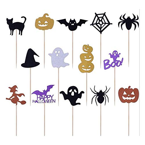 Demarkt Halloween Party Picks Spieße Picker Geist Kürbis Spinne Hexe und Fledermaus Halloween Cupcake Toppers Kuchen Dekorieren Cupcake Topper Picks Ghost Decor for Themed Party