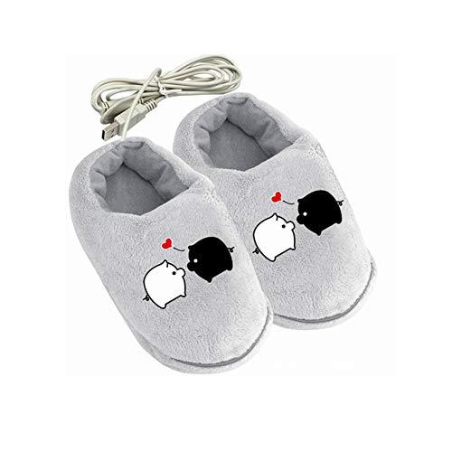2 Paar, USB Aufheizbare Hausschuhe Fußwärmer Wärmeschuhe Wärmepantoffeln, Cartoon Warmer Plüsch Baumwolle Schuhe Heiz Pantoffel, USB Aufladung Abnehmbar Waschbar Elektrischer,Grau