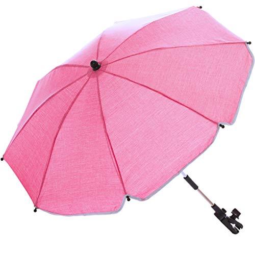 Sonnenschirm für Kinderwagen Buggy und Jogger mit UV SCHUTZ (50) Baby Kind Schirm (Rose-Pink)