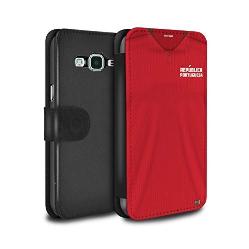 Stuff4 PU-Leder Hülle/Case/Tasche/Cover für Samsung Galaxy J5 2016 / Portugal/Portugiesisch Muster/Weltmeisterschaft 2018 Fußball Trikot Kollektion