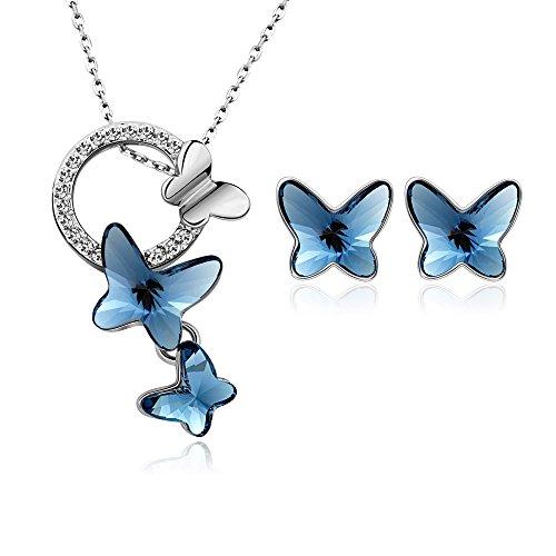 T400 Jewelers Collana e Orecchini per Donna Dream Chasers Farfalla con Elementi in Cristallo,Set di Gioielli Regali per Ragazze Donne