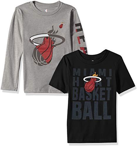 NBA Miami Heat Boys Outerstuff Short Sleeve & Long Sleeve Combo Pack, Team Color, Kids Medium (5-6)