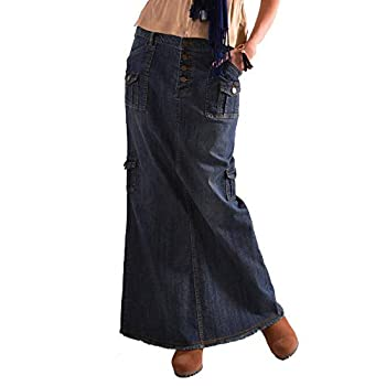 VEZAD Womens Fashion Long Mid Waist Button Pocket Front Straight Denim Maxi Skirts