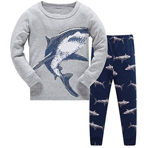Jungen Schlafanzug Kinder Dinosaurier Pyjamas Sets Dino Zweiteiliger Langarm Nachtwäsche Grau Baumwolle Pjs128