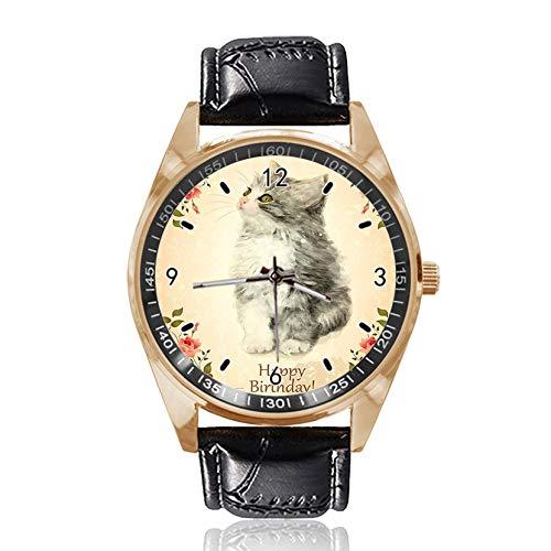 Reloj de Pulsera analógico de Cuarzo con diseño de Gato Esponjoso, Esfera Dorada clásica de Cuero para Mujer y Hombre