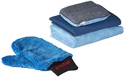 ALCLEAR 8201000 Kit professionnel d'entretien de voiture 4 pièces comprenant un chiffon ultra-séchant, un chiffon polyvalent double-face, un gant pour nettoyage de jante et une éponge anti-buée