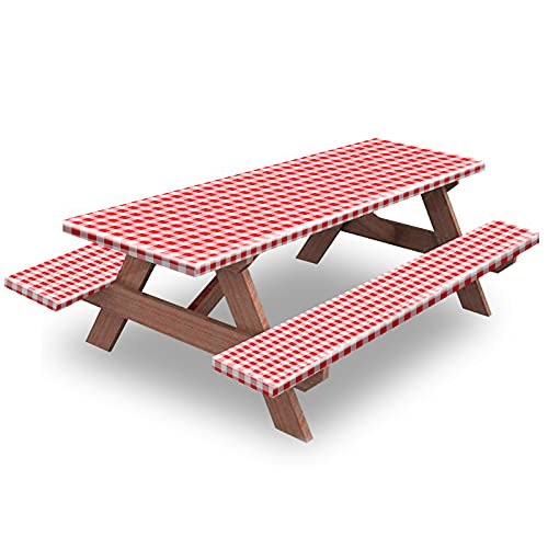 Picnic Table and Bench Fitted Tablecloth Cover, 3-Piece Set, KENOBEE Flannel Backing Elastic Edge Waterproof Wipeable Plastic Cover Vinyl Tablecloth for Home Goods Indoor Outdoor Patio, Red-White