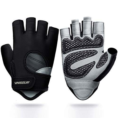 Vinsguir Workout Gloves for Men & Women, Lightweight Breathable Gym Gloves, Exercise Weight Lifting Gloves, Cycling Gloves Curved Open Back for Fitness, Training, Climbing, Kettlebell (Black, Large)