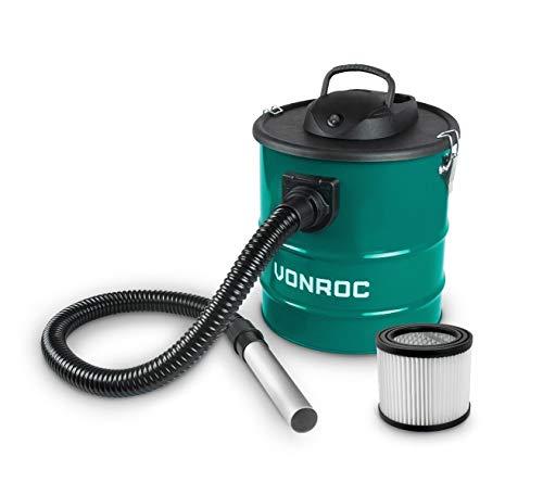 VONROC Aspirateur à cendres 1600W – Réservoir de 20L, cble d'alimentation de 3M, tuyau de 1,2M, buse en aluminium, – Pour cheminée, foyer, barbecue et atelier