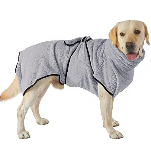PETTOM Bademantel Hund Schnelltrocknend Korallenvlies Hundebademantel für Mittelgroße Hunde Saugfähig Verstellbar Bademantel für Kleine und Große Hunde (XL, Grau)