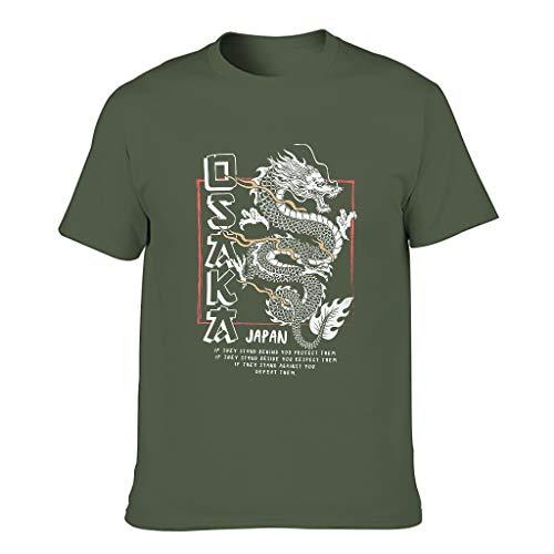 Ginald Camiseta de algodón Tokyo Dragon para hombre, estilo retro, clásico, de verano, de manga corta