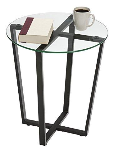 Mango Steam Metro Glass End Table - Clear Top/Black Base