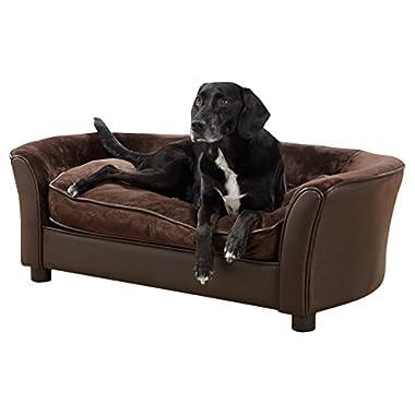 Enchanted Home Pet Ultra Plush Panache Pet Sofa In Pebble Brown, Medium (26 - 50 lbs)