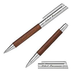 Senator Schreibset TIZIO 6253 Nussbaumholz Kugelschreiber Tintenroller mit persönlicher Gravur und Geschenk-Etui