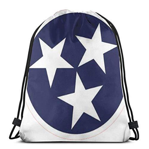 Mabell Tennessee Tristar Flag 3D Print Drawstring Backpack Rucksack Shoulder Bags Gym Bag for Adult 16.9\