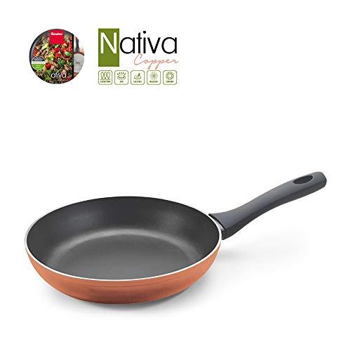 Metaltex NATIVA Copper-Sartén Aluminio Forjado, 22 cm, 2 Capas Antiadherente, Full Induction válido para Todo Tipo de cocinas, Acabado en Color Cobre