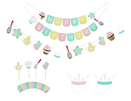 Little Bakers - Birthday Party Decoration Kit | Birthday Banner, Garland, Cupcake Toppers and Party Hats | Birthday Party Box