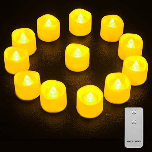 LED Kerzen, Qxmcov 12er LED Teelichter mit Fernbedienung, Flammenlose Kerzen Flackernde Flamme Teelicht, Dekorations-Kerzen für Hochzeit, Weihnachten, Party (Warmweiß)