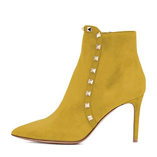 Amarantos Damen Stiefeletten Stiletto High Heel Spitz Toe Rockstud Zipper Abendkleid Party Schuhe Wildleder Gelb Größe 36 EU