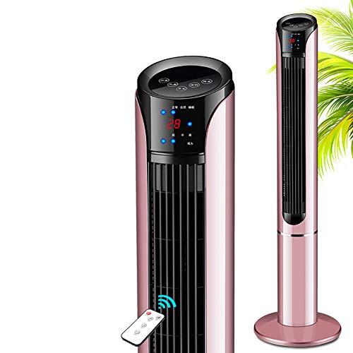 ZDYLM-Y Säulenventilator mit Fernbedienung, LED-Anzeige, 15-Stunden-Timer und 3-Gang-3-Wind-Lüfter für Heim und Büro,Pink