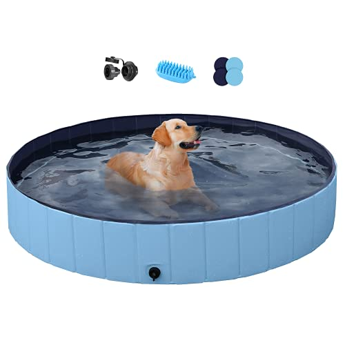 YAHEETECH Blue Foldable Hard Plastic Dog Pet Bath Swimming Pool Collapsible Dog Pet Pool Bathing Tub Pool for Pets Dogs Cats w/Pet Brush&Repair Patches-63 x 11.8 inch,XXL
