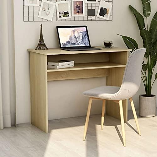 HUANGDANSP Escritorio de aglomerado Color Roble Sonoma 90x50x74 cm Mobiliario Mobiliario de Oficina Escritorios
