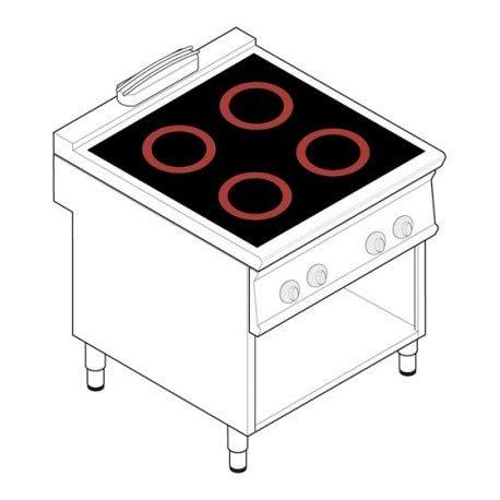 Piano de cuisson électrique - 4 plaques vitrocéramiques 3,4 kW - gamme 900 - Tecnoinox