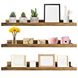 Giftgarden 36 Inch Large Floating Shelves for Wall Set of 3, Rustic Picture Ledge Wall Shelf for Bedroom Kitchen Bathroom Living Room Nursery Display, 3 Different Sizes