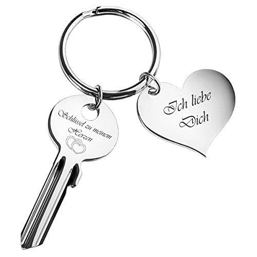 """Schlüssel zu meinem Herzen mit Herz-Anhänger \""""Ich liebe Dich\"""" - graviert - Silber - romantische Geschenke für Frauen, Freund, Freundin"""