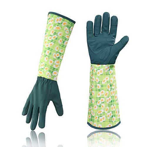 HANXIUCAO Leder Rosengartenhandschuhe Frauen Erweiterte Lange Pro Rose Beschneiden Gartenhandschuhe für Mutter und Großmutter (blau)