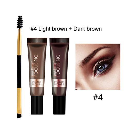 Coloration de la crème pour les sourcils(4# brun clair + brun foncé)